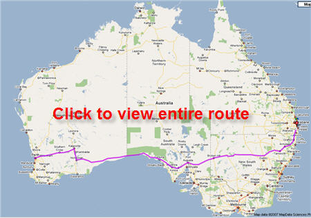 Map of trip - Perth to Paradise