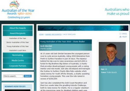 Jack Sinclair - Finalist 2010 Young Australian of the Year (QLD)