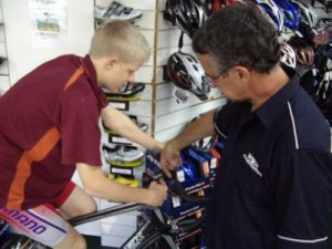 Jack Sinclair gets fitted for bike